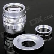 50mm F1.4 CCTV Lens + Macro Anillos + C-M4 / 3 Anillo adaptador para Olympus / Panasonic camara - Plata