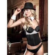 Baci Black Bustier with white Lace appliqués and G-String 936 - Small/Medium
