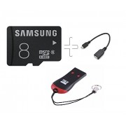 Samsung MB-MA08D 8GB Class 6 microSDHC MemoryCard With OTG Cable And M003 Microsd Card Reader (Combo Of 3Pcs) Only From M.P Enterprise