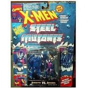 Apocalypse Vs Archangel Figures - 1994 - X-Men Steel Mutants - Die Cast Metal - W/ Mutant Collector Stand