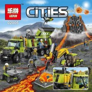 Lepin 02005 889Pcs New City Series The Volcano Exploration Base Set Children Educational Building Blocks Brick Toys Model 60124