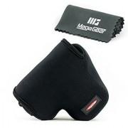 MegaGear Ultra Light Neoprene Camera Case Bag with Carabiner for Canon PowerShot SX60 HS Digital Camera (Black)