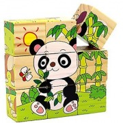 iPuzzle Animals Wood Cube Puzzle 6 Puzzles in 1 for Toddlers Kids
