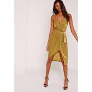 Missguided Chartreuse Robe mi-longue jaune soyeuse drapée