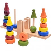 iPuzzle Wooden Colorful Stacker Clowns Blance Beam Stacker Educational Toys Gift Set for Kids