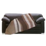 Coperta Plaid imbottito effetto alcantara poliestere marrone panna divano