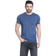 Basics Blue Printed Round Neck Half Sleeve T-Shirt for Men