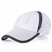 Hombres al aire libre y las mujeres Sun Shade beisbol neto de algodon Hat - Blanco