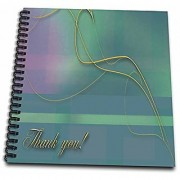 3dRose db_40379_1 Elegant Vine on Pastal Green Plaid Drawing Book 8 by 8-Inch