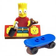 MinifigurePacks: Lego Simpsons Bundle (1) Bart Simpson Minifigure (1) Figure Display Base (3) Figure Accessory's (Skateboard - Spray Can - Slingshot)