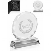 6 Round Engraved Glass Trophies Personalized with Logo - DMAW18 (Bulk)