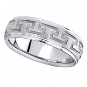 Men's Diamond Cut Carved Wedding Band in 14k White Gold (7mm)
