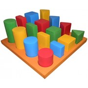 Kido Toys - Tray With 3D Geometrical Solids For Stacking And Sorting - 16 Shapes