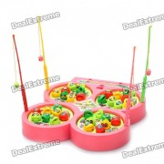 Magnetic Fishing Rod + Fish Fishing Game Toy Set - Pink + Red + Green + Yellow (2 x AA)