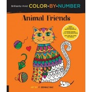 Brilliantly Vivid Color-By-Number: Animal Friends: Guided Coloring for Creative Relaxation--30 Original Designs + 4 Full-Color Bonus Prints--Easy Tear