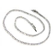 Collana Collier donna o uomo modello Tennis in argento 925 con zirconi bianchi griffe 2 mm taglio brillante (lunghezza 45 cm)