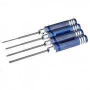 Handy Precise 1.5 / 2.0 / 2.5 / 3.0mm Hex Screwdrivers - Blue (4 PCS)