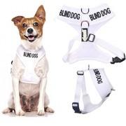Dexil Chien aveugle White Coded Nylon rembourré étanche petite veste harnais pour chien (Non / limitée Sight) prévient les accidents en avertissant les autres de votre chien à l'avance