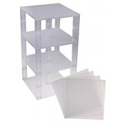 "Premium Clear Stackable Base Plates - 4 Pack 6"" x 6"" Baseplate Bundle with 30 Clear Bonus Building Bricks (LEGO Compatible) - Tower Construction"