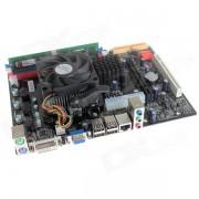 DIY Mini Computer Assembling C68 Motherboard + CPU + 1GB DDR2 RAM + Fan Set - Black + Red