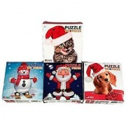 Holiday Puzzle Bundle (Pack Four 100 Piece Puzzles) - Snowman On Skis Santa Holiday Puppy And Holiday Kitten