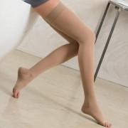 BASIC - Nadkolena čarapa sa silikonskom trakom - otvoreni prsti 280 DEN (22-27mmHg)