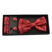 Set elegant pentru barbati rosu bordo cu model in relief