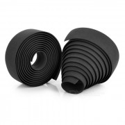 Anti-Slip Cycling Bike Bicycle Handlebar Tape Belt Wrap w/ Bar Plugs for Bike - Black (2 PCS)