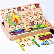 Vidatoy Educational Math Toys With Number Cards Counting Rods And Chalkboard For Kids