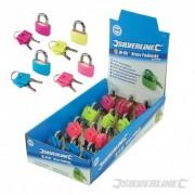 Silverline Mosazné visací zámky, reflexní barva - prodejní box, 12 kusů - 30mm 808156 5024763050831