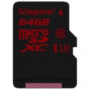 Kingston Digital 64GB microSDXC UHS-I Speed Class 3 U3 90R/80W Flash Memory Card with Adapter (SDCA3/64GB)