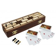 RoyaltyLane Board Game Full Cribbage boards Set - 2 Decks of Playing Cards