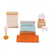 Jucarie eco din lemn Mobilier Dormitor pentru casa papusilor Hape