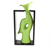 Vaza pentru flori din ceramica verde in suport negru