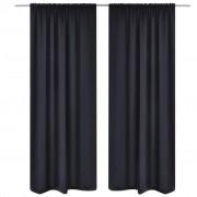 vidaXL 2-pack svarta gardiner med hyskupphängning 135 x 245 cm