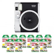 Fujifilm FU64-INSM9K100 INSTAX MINI 90 NEO CLASSIC Camera and Film Kit with 100 Exposures (Black/Silver)