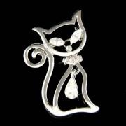 Swarovski Crystal Kitty Cat Kitten Pet Animal Pet Pin Brooch New