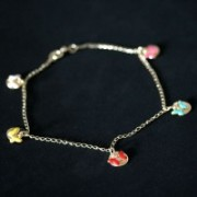 Semi anklet Jewelry Gold Plated Pendant with Colorful Butterflies Balls and Resin