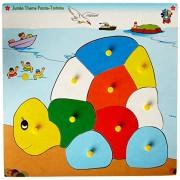 Skillofun Wooden Jumbo Theme Puzzle Tortoise Knobs, Multi Color