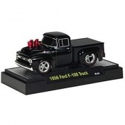 1956 Ford F-100 Truck (Black) M2 Machines Ground Pounders Release 2 2010 Castline Premium Edition 1:64 Scale Die-Cast Ve