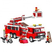 Top Race Fire Truck Vehicle Building Set (576 Pieces) with Fire Chief Motorcycle and Accessories Building Blocks