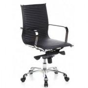 Hjh Sedia da ufficio CREMONA 10, seduta in vera pelle, base cromata, ergonomica, nero