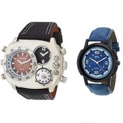 Oura Analog Casual And Sport Wear Dual Time Compass Watch With One Oura Blue Dial Men's Watch (Combo of 2Pcs)