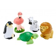 Fisher Price Little People - Wild Animals 5 Pack - Turtle, Lion, Zebra, Penguin,and Flamingo
