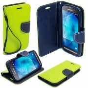 Etui Pour Samsung Galaxy Xcover 3 / G388f Bicolore Fancy Diary Book De Moozy Avec Support Silicone & Dragonne, Vert Clair / Bleue