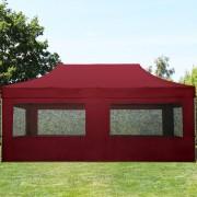 Intent24 3x6m Tente pliante avec côtés (dont 6 panoramiques), ECONOMY Alu, rouge foncé
