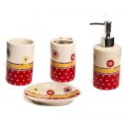 Set de baie cu 4 piese, model rosu cu flori si buline albe