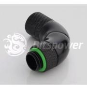 Fiting compresie triplu rotativ 90 grade alama Bitspower G1/4 la 11/8mm, Matte Black