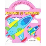 Coloreaza si lipeste Avioane si vapoare cu abtibilduri