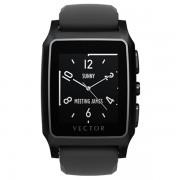 Ceas Vector Meridian Smartwatch carcasa neagra din otel inoxidabil curea din silicon neagra